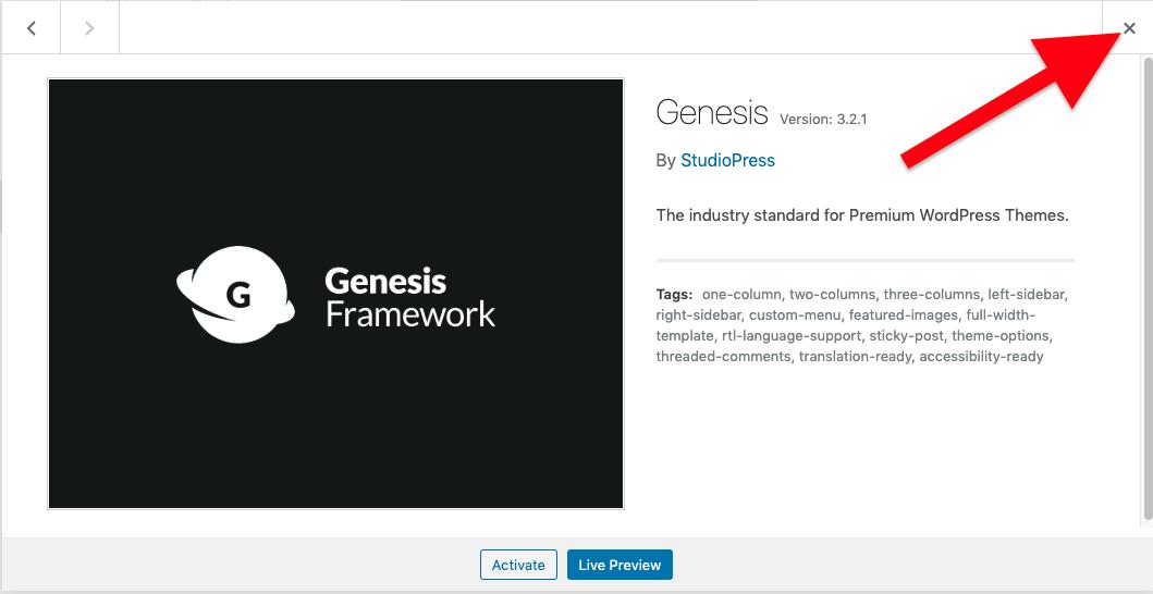 The uploaded Genesis Theme.